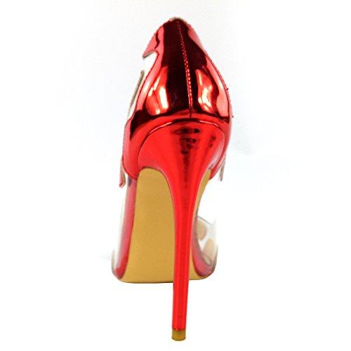 ENMAYER Womens PU Materiale Tacchi alti Stiletto Pompe punta a punta Slip-on Abiti da sposa Transparent Shoes Rosso