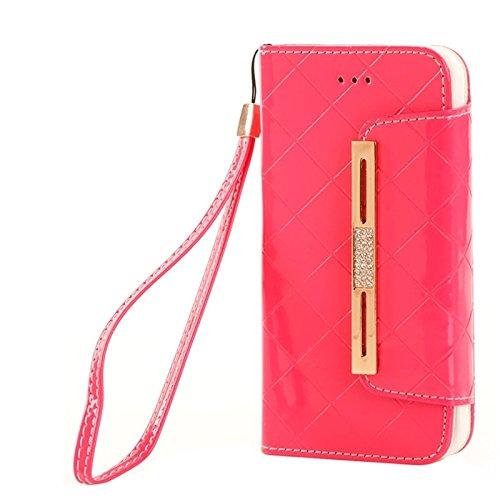YAN Pour iPhone 6 Plus / 6S Plus, étui cuir en cuir découpé en diamant porte-monnaie et en argent et en argent ( Color : Black ) Pink