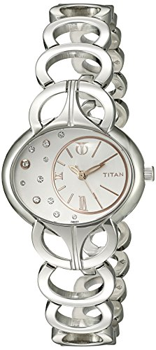 Titan Women's 9922SM01 Purple Analog Display Quartz Silver Watch