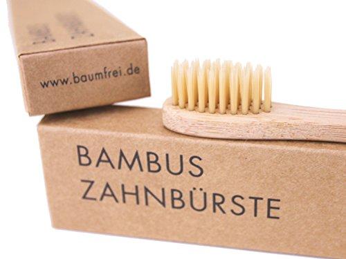 Bambus Zahnbürste von baumfrei, weiche Borsten: ♻ Nachhaltig ♻ minimalistisch ♻ vegan ♻ BPA-frei. Verpackung plastikfrei. (Stiel biologisch abbaubar, natürliche Holzzahnbürste) 12 Stück