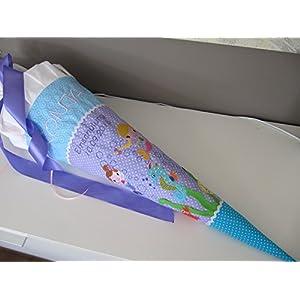 Meerjungfrauen lila-Türkis Schultüte Stoff + Papprohling + als Kissen verwendbar