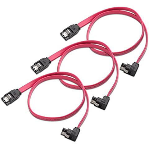 Cable Matters 104008-18x3 - Pack de 3 cables (SATA III, 45 cm, 6 Gbps), color roja
