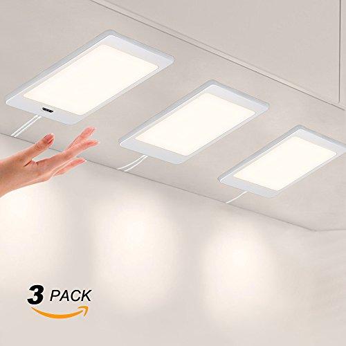 Lampes de Panneau Eclairage a LED pour Sous Meuble de Cuisine avec Interrupteur de Capteur de Main Eclairage Blanc Neutre 4000K Lot de 3 Lampes de Enuotek