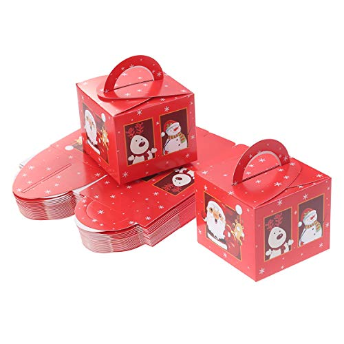 Toyvian Weihnachten Süßigkeiten Cookie Box 24 stücke Treat Fall Party Favor Boxen Party Supplies (Rot)