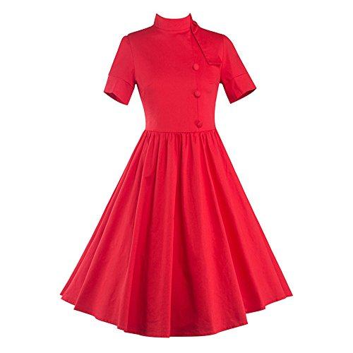 Dabag - manches courtes Automne Vintage couleur pure col debout Épissure jupe tunique plissée avec des boutons robe balancer (M, Rouge) Rouge