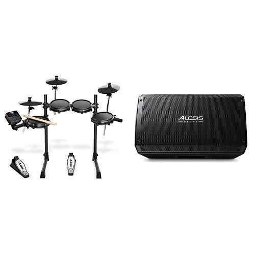 Turbo Elektronik (Alesis Turbo Mesh Kit 7-teiliges E-Drum-Set mit Mesh-Heads + Alesis Strike Amp 12-2000-Watt-Ultra-Portable-Drum-Lautsprecher)