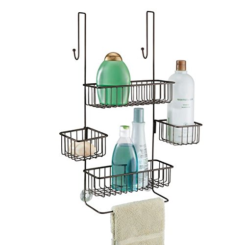 mDesign Bathroom Over Door Shower Organiser for Shampoo, Conditioner, Soap - Bronze
