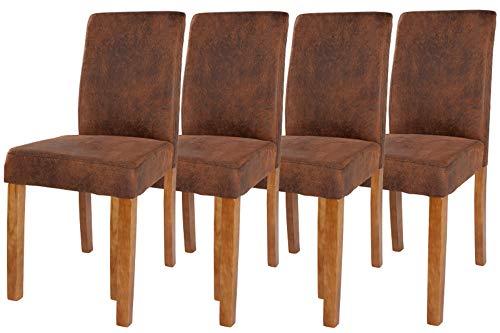 DuNord Design Stuhl Esszimmerstuhl 4er Set braun Vintage Kolonial Polsterstuhl Pinie Massiv Levante