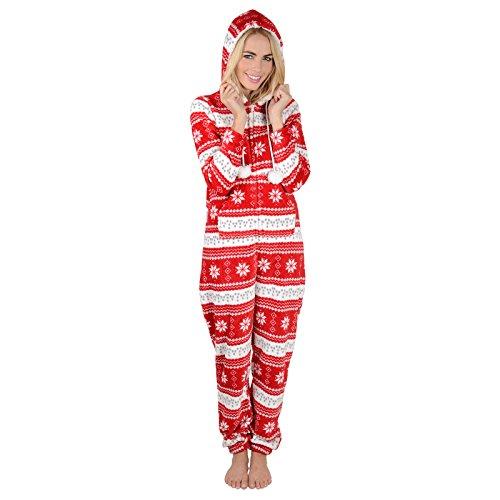 Damen Fleece Einteiler Pyjama mit Schneeflocken Muster – Roter Onesie - 3