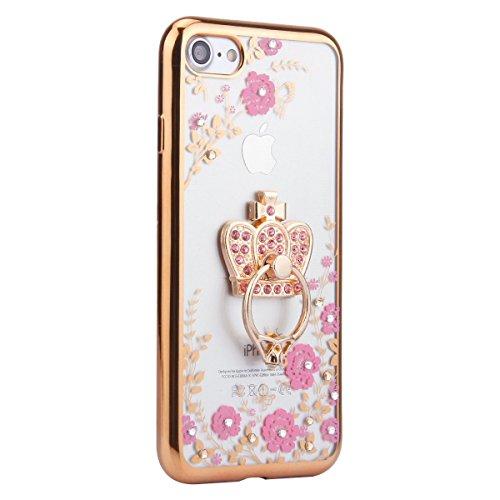 iPhone 7 Plus Silicone Case Transparen Slim,Bling Silicone Coque pour iPhone 7 Plus,Bumper Coque Housse Etui pour iPhone 7 Plus,EMAXELERS iPhone 7 Plus Coque Cristall Silicone TPU Case Slim Cover,iPho Bling Flower 6