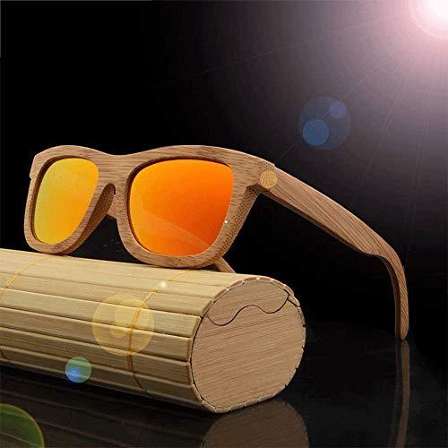 Around Classics polarisierte Sonnenbrillen, kleine runde verspiegelte Gläser Unisex-Brille aus echtem Bambus,Yellow
