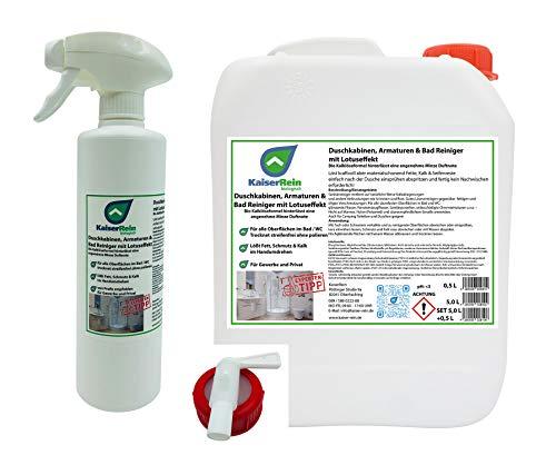 KaiserRein Bio Duschkabinenreiniger mit Lotuseffekt/Abperleffekt Set 5 L Kanister +und Spray 0,5L + Auslasshahn ohne nachwischen streifen freies abtrocknen