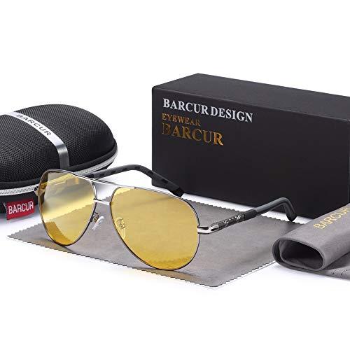 IN THE DISTANCE Männer Magnesium Aluminium Sonnenbrille Männer Polarisierte Spiegelbeschichtung Spiegel Brillen Männliche Brillen Zubehör for Männer (COR das Lentes : Gun Night) -