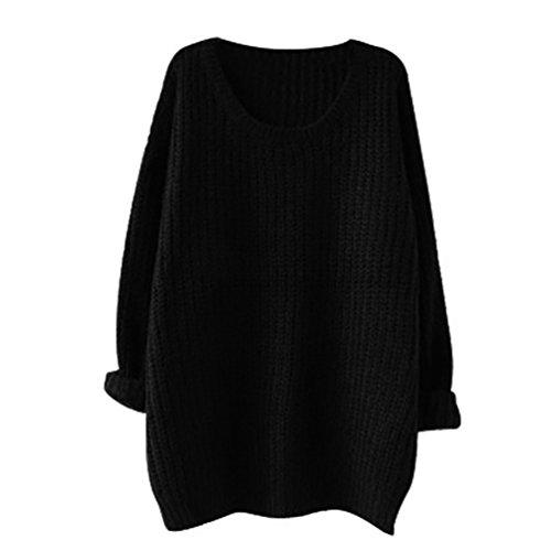 Maglione oversize Donne Manica lunga Baggy lavorato a maglia Felpa (nero)