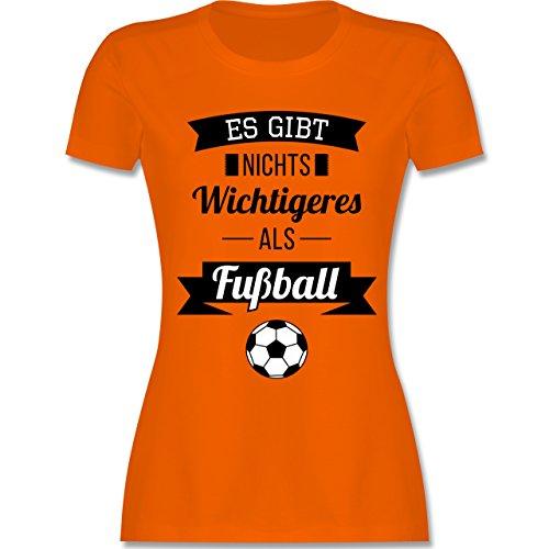 Fußball - Es gibt nichts Wichtigeres als Fußball - tailliertes Premium T-Shirt mit Rundhalsausschnitt für Damen Orange