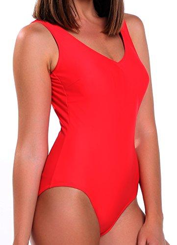 FITTOO Damen Gepolsterter Einteiliger Figurformender Rückenfreier Sport Badeanzug Rot XXL