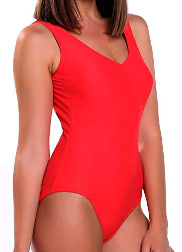 FITTOO Damen Gepolsterter Einteiliger Figurformender Rückenfreier Sport Badeanzug Rot XXXL
