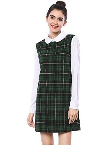 Allegra K Damen Sommer Lockeres Hübsche Kleider Langarm Baumwolle Gerade Kariertes Kleid Grün S - Smock Taille Shirt