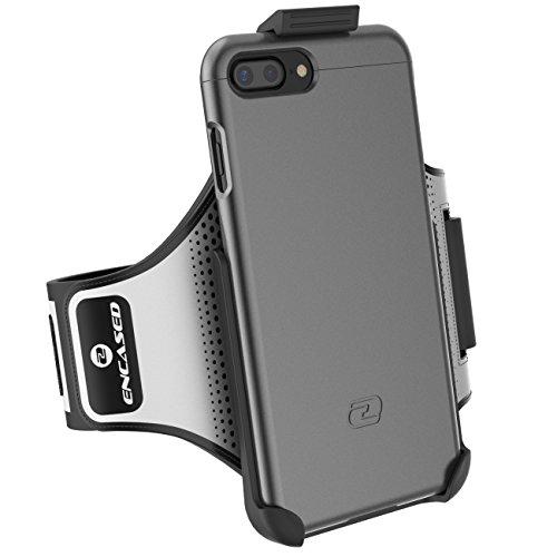 iPhone 7 Plus Armband Gym Kit, (Click-N-Go) Workout Armband + Sport Case (2 pc set) By Encased (Deep Blue) Metallic Gray