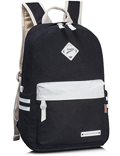 leaper-sac-a-dos-scolaire-cartable-fille-sac-porte-dos-voyage-school-backpack-daypack-noir