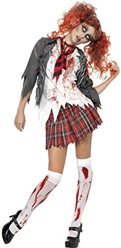 Abitur Horror Zombie Schulmädchen Kostüm, Grau, mit Jacke, angenähtem Hemd, Krawatte und Rock, (School Kostüm Naughty)