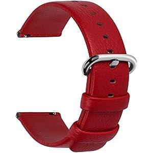 Fullmosa 12 Farben für Uhrenarmband, Kalbsleder Armband für Damen Heren Lederarmband mit Edelstahl Metall Schließe, 18mm 20mm 22mm 24mm