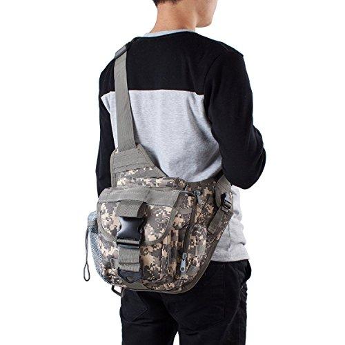 Außen Taktisch Militär Reise Sport 3 Wege Einstellbar Dienstprogramm Schulter Strap Beutel Brust Rucksack Beutel Gürtel Taille Packung Tasche Drücken Packung (7 Farben) für Camping Wandern Trekking ACU
