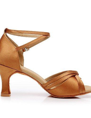 ShangYi Chaussures de danse ( Marron / Argent / Or ) - Non Personnalisables - Talon Bobine - Satin / Flocage - Latine / Salsa Gold
