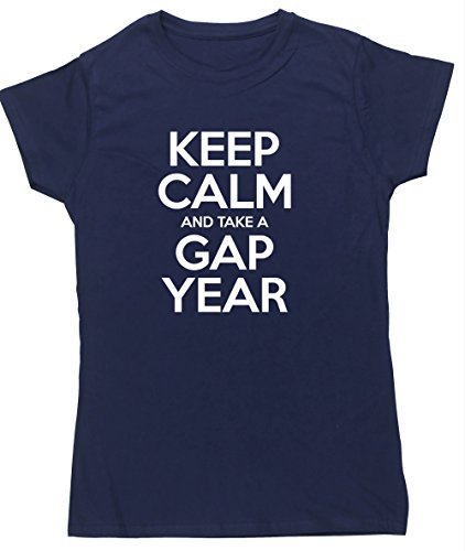 hippowarehouse-keep-calm-and-take-a-gap-year-womens-fitted-short-sleeve-t-shirt