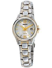 Seiko Core Reloj de mujer solar 27mm correa de acero doble tono SUT250