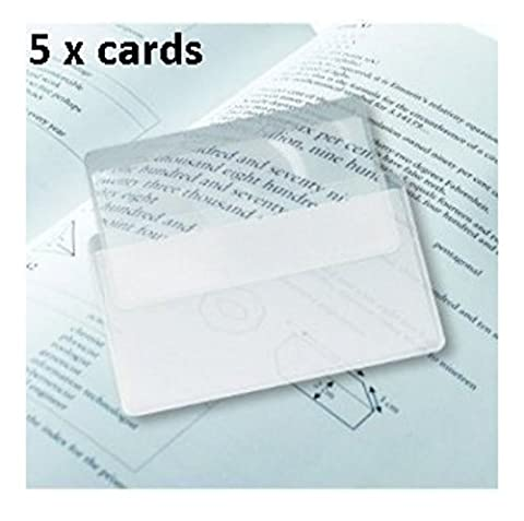 Flexible Acrylique, format carte de crédit Loupe avec manches en plastique 5 cards