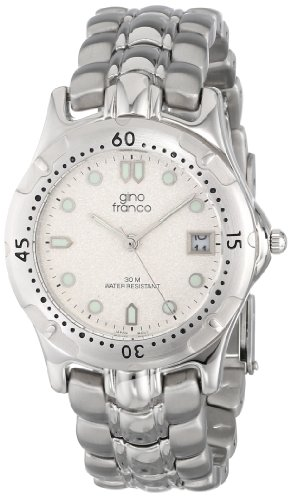 gino Franco Men's 953-1 Round Stainless Steel Bracelet Watch