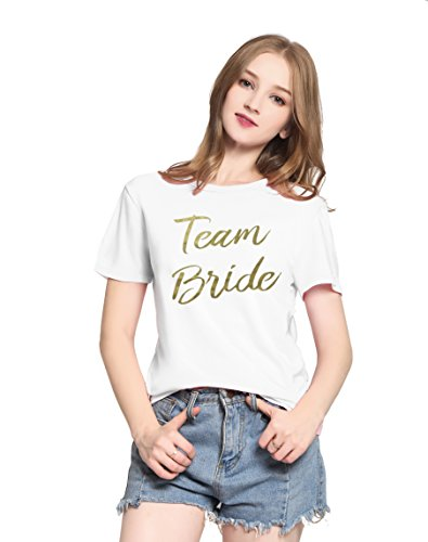 PINJIA Mujers La Novia T-Shirt Tops Graphic Tees Camiseta para Mujer(XL,Gold White Team Bride)