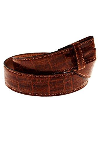 VMP Gürtel aus Leder mit Krokoprägung Cuoio Malesia, Größe:95, Farbe:Cognac-04(AMQ285)
