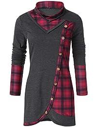 Damen Pullover Sweatshirt,Wraluhen Winter Eleganten Stil Bluse Frauen Dünne  Langarm Karierte Rollkragen Tartan Tunika b843ac5d6e