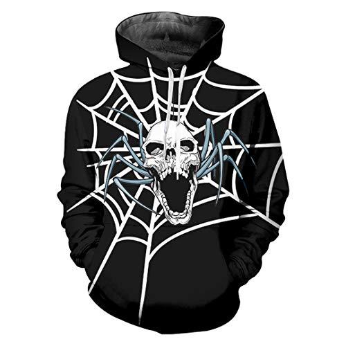 ann Halloween 3D Gedruckt Spinnennetz Und SchäDel Trend Casual Hoodies Spider Web Skulls XXXL ()