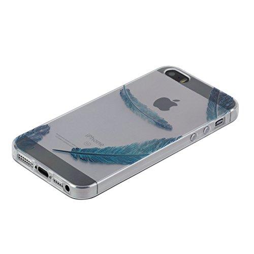 Apple iphone SE Hülle,iphone 5s Transparent Crystal Klar Case,Ekakashop Ultra Dünn Slim Modisch Durchsichtig BOO Muster Weiche Silikon TPU Flexible Gel Case Crystal Defender Protective Schutzhülle Bum Blau Feder