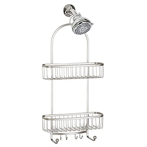 InterDesign York Bathroom Shower Caddy for Shampoo, Conditioner, Soap, Steel, Satin, Extra Large,