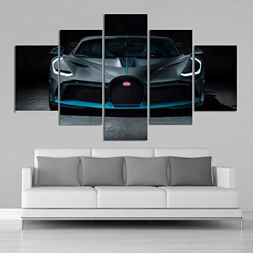 5 Pezzi Super Car Bugatti Divo HD Poster Dipinti su Tela Stampe Auto Sportive Poster da Parete per Pareti Soggiorno Decorazioni per La