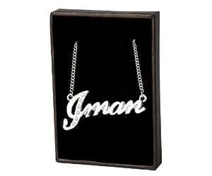 Collier Prenom Arabe Iman - Blanc plaque or 18k Collier personnalise. 40-48 Chaine Belcher cm avec boite-cadeau et un sac-cadeau. 2mm d'epaisseur nominale
