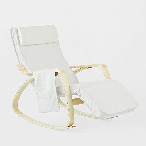 SoBuy Schaukelstuhl mit Tasche (verstellbares Fußteil),Relaxstuhl,Relaxsessel,Belastbarkeit 150kg,FST18-W