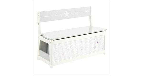 Banc-coffre à jouets pour enfants en bois MDF coloris blanc L 78 x L 33 x H 56