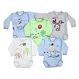 TupTam Unisex Baby Wickelbody mit Aufdruck 5er Set, Farbe: Junge, Größe: 74