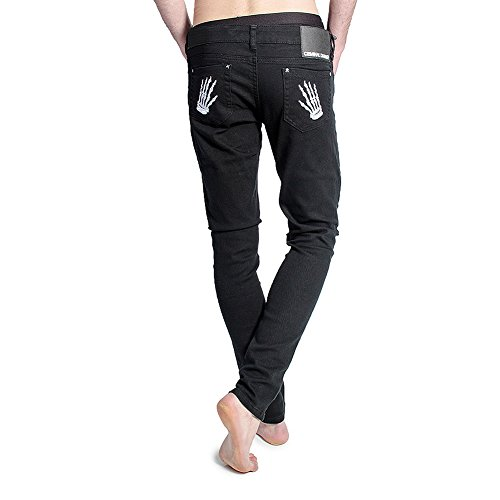 Criminal Damage Weiße Skeleton Hands Skinny Fit Herren Jeans (Schwarz) Schwarz