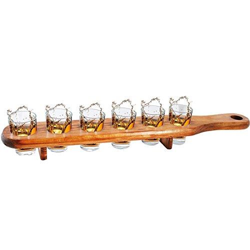 Planche à Shooters en bois - 6 Verres à shooters (apéritif...)