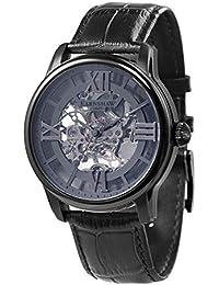 Thomas Earnshaw Longitude ES-8062-03 Montre mécanique pour homme Avec cadran gris à mécanisme apparent et bracelet en cuir noir
