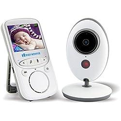 """Tobaling Bébé Moniteur Sans Fil Ecoute bébé video Numérique Digital 2.4 GHz Bidirectionnelle Avec Température Surveillance 2.4"""" LCD Couleur Ecran Vidéo Nocturne Vision et Deux Voies"""