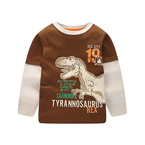 YanHoo Ropa para niños Camiseta de Manga Larga con Estampado de Dinosaurio alfanumérico para niños Niñas de Manga Larga de Dibujos Animados Dinosaurio Imprimir Blusa Ropa