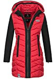 Navahoo Damen Wintermantel Mantel Steppmantel warm Winter Jacke lang Stepp B674 [B674-Fluss-Rot-Gr.L]