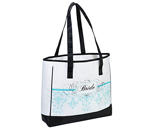 Lillian Rose Bride Tote, 13-Inch by 12-Inch, Aqua